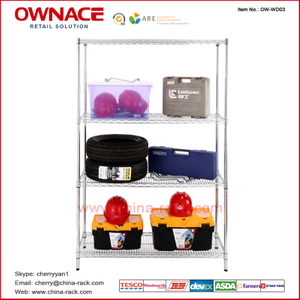 Estante del almacenaje de la estantería de OW-WD03 Four 4 Layers Chrome Wire